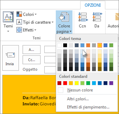 Modificare sfondo mail outlook