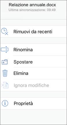 Schermata mobile che mostra il comando Move