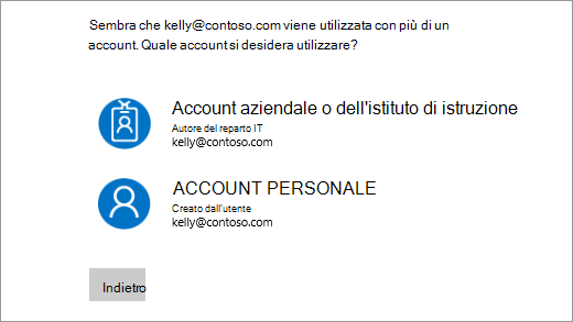 Schermata con due indirizzi di posta elettronica di accesso