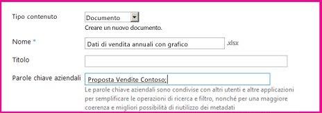Gli utenti possono aggiungere parole chiave nella finestra di dialogo delle proprietà del documento