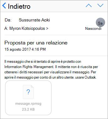 Non è possibile visualizzare i messaggi protetti nell'app mail di iOS se l'amministratore non ha consentito.