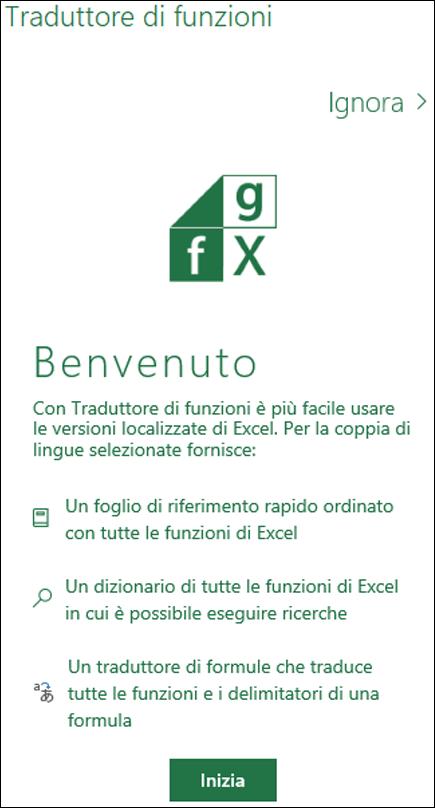 Riquadro di benvenuto di Traduttore di funzioni di Excel