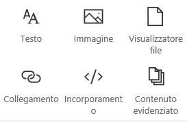Screenshot del menu Web part in SharePoint.