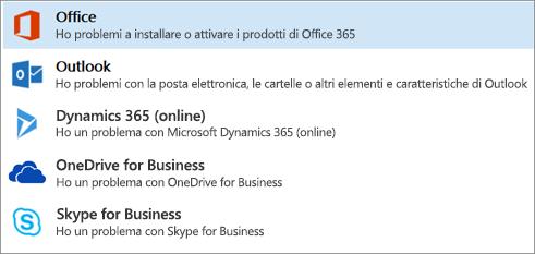 Visualizza l'opzione di Office evidenziata nell'Assistente supporto e ripristino