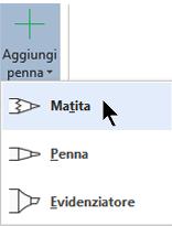È possibile disegnare con l'input penna con tre diverse trame: una matita, una penna o un evidenziatore