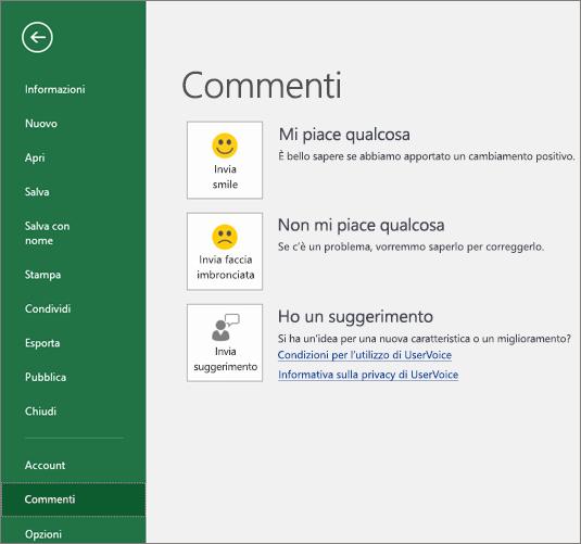 Fare clic su File > Feedback per inviare a Microsoft commenti o suggerimenti su Excel