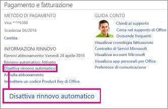 """Screenshot della sezione Informazioni rinnovo con il collegamento """"Disattiva il rinnovo automatico"""" selezionato."""