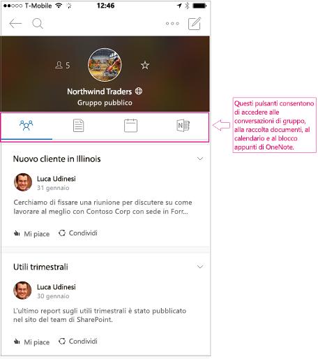 Visualizzazione conversazione di un gruppo nell'app per dispositivi mobili di gruppi di Outlook