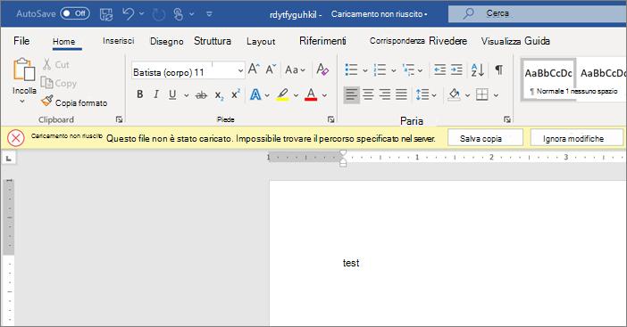 Screenshot dell'errore di caricamento non riuscito durante la modifica di un documento in Word