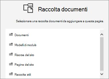 Selezionare una raccolta documenti a una pagina