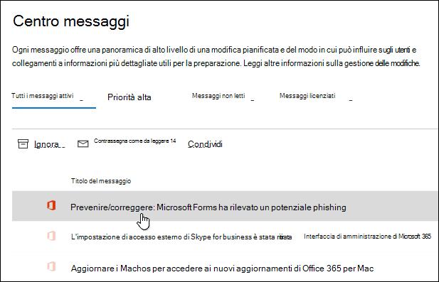 Messaggio nell'interfaccia di amministrazione di Microsoft 365 informazioni sul rilevamento di phishing di Microsoft Forms