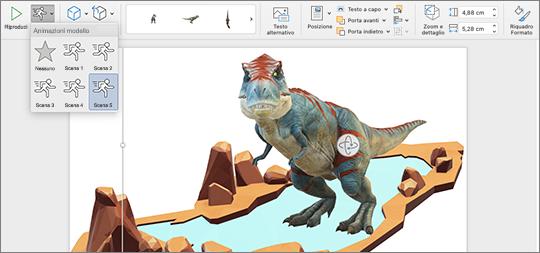 Modello 3D con opzioni di animazione