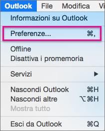 Nel menu Outlook fare clic su Preferenze.