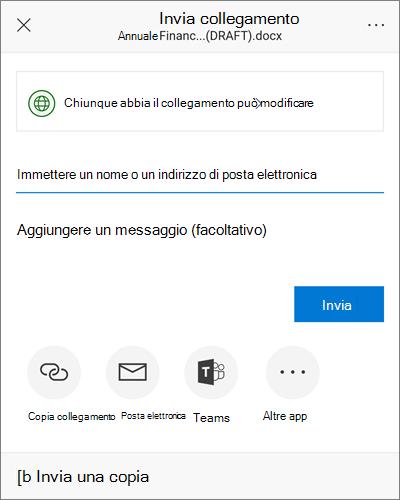 Schermata della finestra di dialogo condivisione in Android