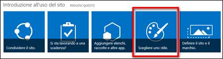 Sito appena creato in SharePoint Online che mostra i riquadri selezionabili per l'ulteriore personalizzazione del sito