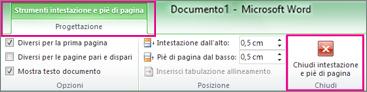 Nella scheda Progettazione fare clic su Chiudi intestazione e piè di pagina