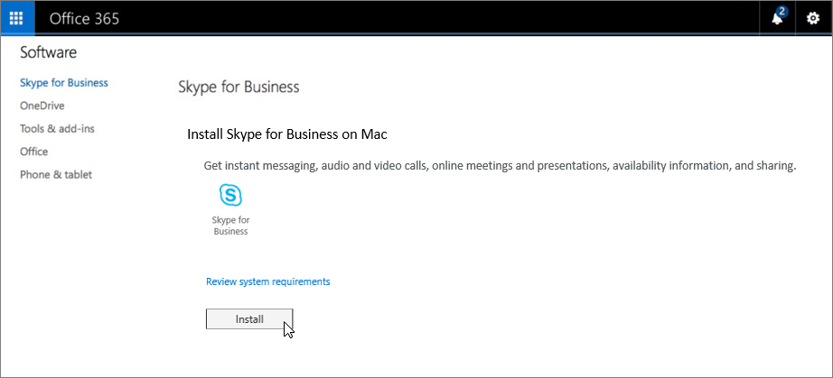 Pagina di installazione di Skype for Business per Mac