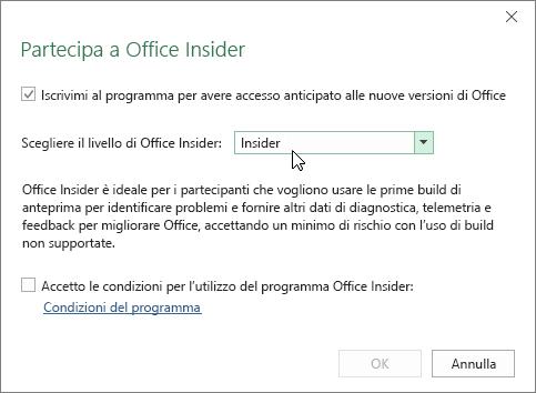 Finestra di dialogo Partecipa a Office Insider con l'opzione relativa al livello Insider