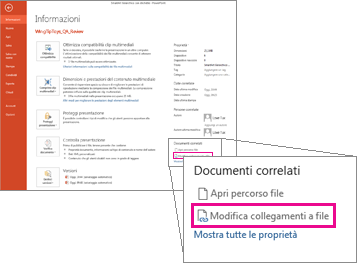 Modifica collegamenti a file
