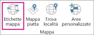 Opzione Etichette mappa di Mappe 3D