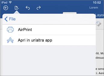 La finestra di dialogo Stampa in Word per iOS consente di stampare il documento o aprirlo in un'altra app.