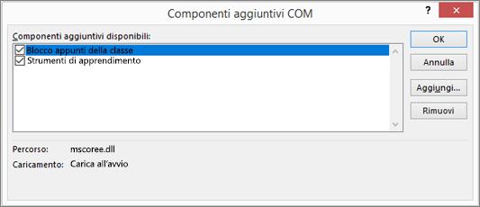 Riquadro Componenti aggiuntivi COM con il blocco appunti per la classe e la casella di controllo selezionati. Pulsanti per OK, Annulla, Aggiungi e Rimuovi.