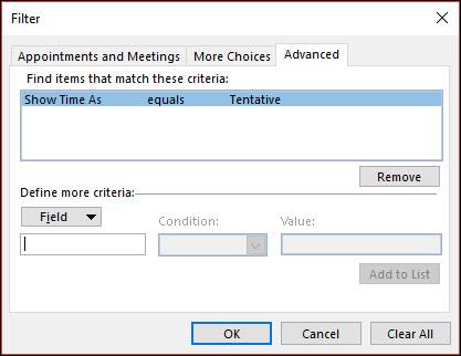È possibile scegliere qualsiasi campo appuntamento disponibili.