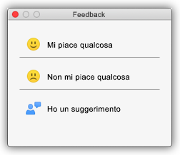 Schermata della finestra di dialogo Feedback che mostra pulsanti quali Mi piace qualcosa, Non mi piace qualcosa e Ho un suggerimento.