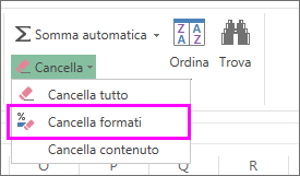 Usare il pulsante Cancella formati per rimuovere la formattazione