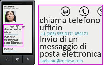 Schermata che mostra il numero di telefono di una chiamata in arrivo e il pulsante di risposta su un client mobile Lync