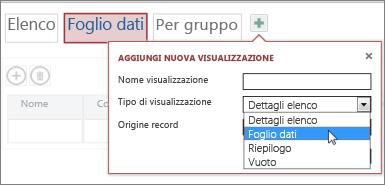 aggiunta di una nuova visualizzazione Foglio dati a una tabella