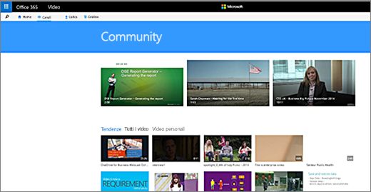 Pagina video della community di Office 365