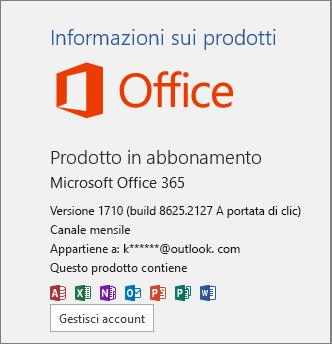 Build normale di Office 365