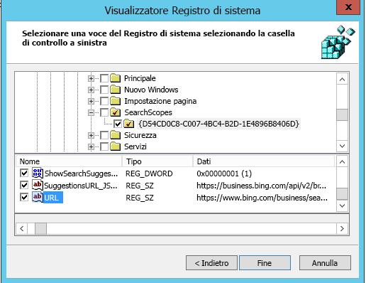 Ambito della ricerca console IE11 2