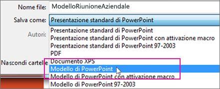Salvare come modello di PowerPoint