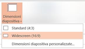 Dimensioni diapositiva