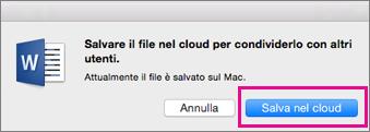 Salvare nel cloud prima di invitare utenti