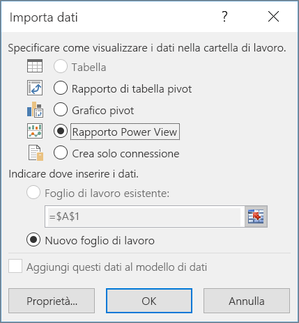 Invio al report di Power View
