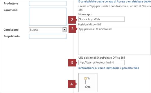 Schermata di creazione di una nuova app Web di Access