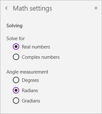 Risolvere i tipi di numero o la misura dell'angolo nelle impostazioni matematiche.