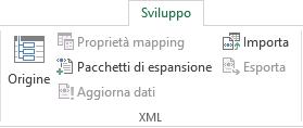 Comandi XML nella scheda Sviluppo