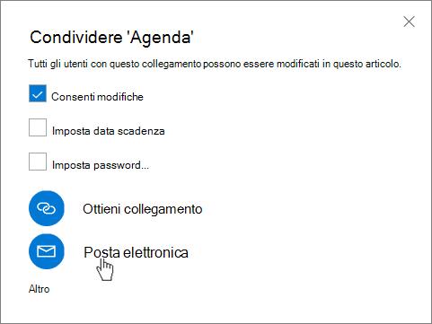 Screenshot dell'opzione Posta elettronica nella finestra di dialogo Condividi di OneDrive