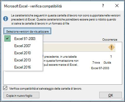 Finestra di dialogo Verifica compatibilità di Excel