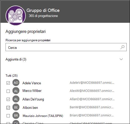Usare questa finestra di dialogo per selezionare fino a 10 proprietari per gestire il gruppo