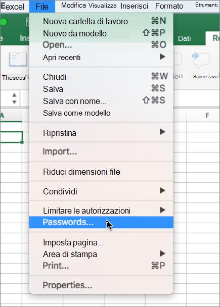 Opzione password dal menu File