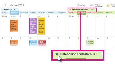 Comando Visualizza calendari sovrapposti nella scheda di un calendario