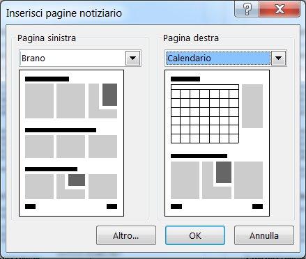 Aggiungere pagine a un notiziario attraverso la finestra di dialogo Inserisci pagine notiziario.