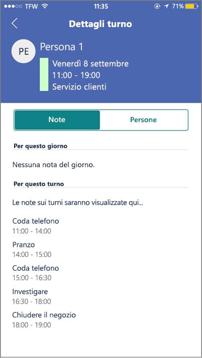 Screenshot: Visualizzare le attività di Staffhub nel dispositivo mobile