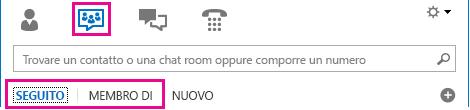 Schermata della visualizzazione chat room della finestra principale di Lync con le schede Seguito e Membro di in evidenza