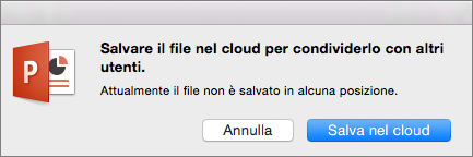 Salva nel cloud in PowerPoint per Mac